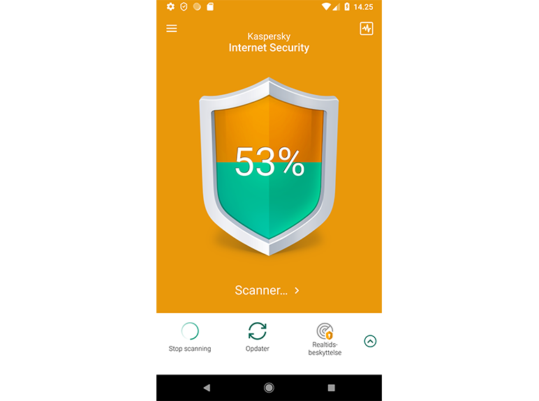 Kaspersky Internet Security for Android content/da-dk/images/b2c/product-screenshot/2 FL19 Main UI full w-side menu (green state) for Smartphone KISA DA.png