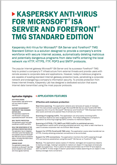 Kaspersky Anti-Virus for Microsoft® ISA Server and Forefront® TMG Standard Edition - Datablad