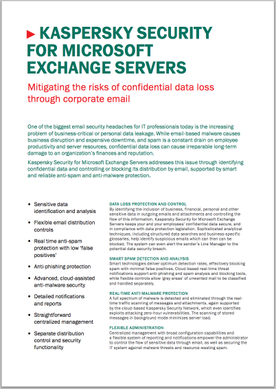 Kaspersky Security for Microsoft Exchange Servers - Datablad